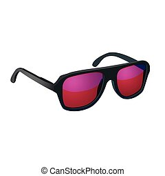 Sunglasses with red glasses isolated on white background