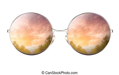 Sunglasses with reflection of cumulus cloudy sky