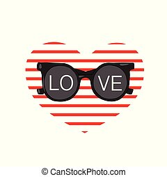 Sunglasses with the inscription Love on the background of the heart of the strips. Design for t shirts.