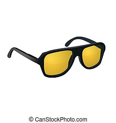 Sunglasses with yellow glasses isolated on white background