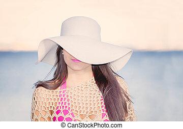 sunhat, eye., spiaggia, mantello, moda, donna, uno