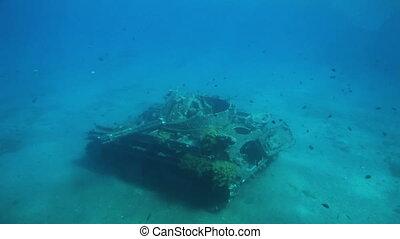 Sunken american tank - American tank wreck in shallow water...