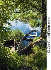 Sunken boat on the river in the green vegetation