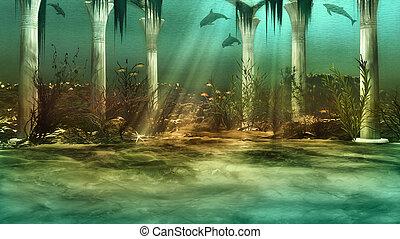 Sunken City - an imaginary underwater scenery with sunken...