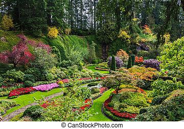 sunken, jardin, -, les, beau, partie, parc