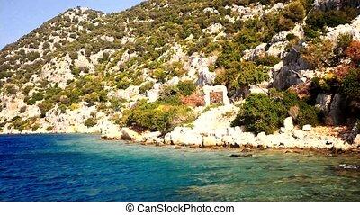 Sunken Lycian city in Turkey - Sunken Lycian city on the...