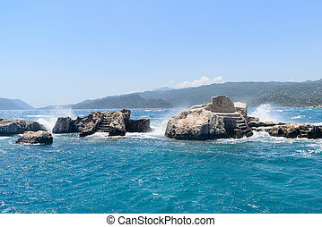 Sunken Lycian city on Kekova island, Turkey - Sunken Lycian...