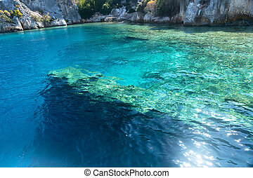 Sunken ruins in Kekova island of Dolichiste ancient Lycian...