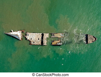 Sunken Ship Aerial at Seacliff beach, California, USA