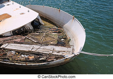 Sunken Ship at Harbor Closeup - Moored Ship Sunken at Harbor...