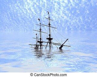 Sunken ship - Illustration of a ship sinking into an ocean