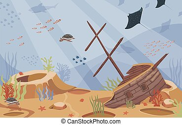 Sunken ship vector flat illustration. Broken boat underwater in a blue sea. Coral reef, tropical fish, stingrays, and turtles.