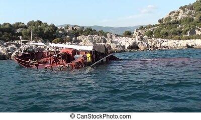 Sunken wreck boat 3 - Kas, Turkey - 23/10/2001: Sunken ship...