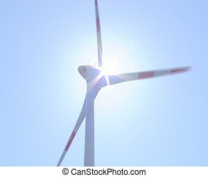 Wind renewable energy. - Sunlight appears between rotating...