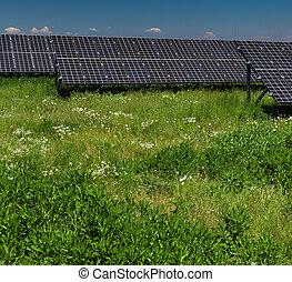 solar panels on a sunny day