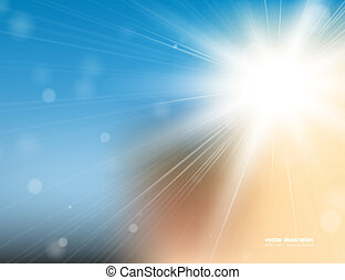 Abstract background with bright sunlight and blured bokeh. Eps 10 vector illustration