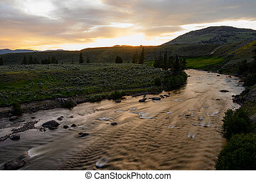 Sunlight Fades Over Yellowstone River