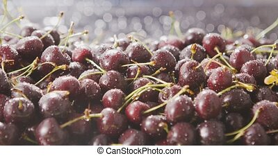 Sunlight illuminates red ripe cherries with drops of water. Berry blurred background with sun glare and beautiful bokeh. Close-up slow motion video in 4k. Soft focus.