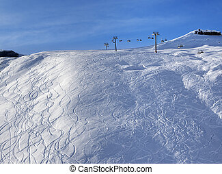Sunlight off-piste slope at morning. Greater Caucasus, Mount...