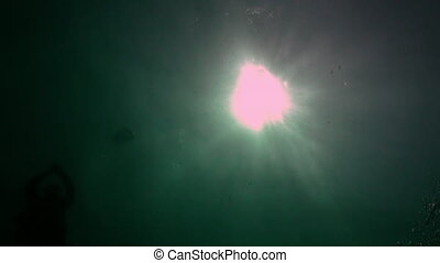 Sunlight on background of clear underwater of Maldives....