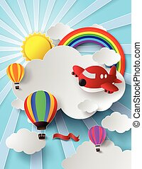 sunlight on cloud with hot air ball - Vector illustration ...