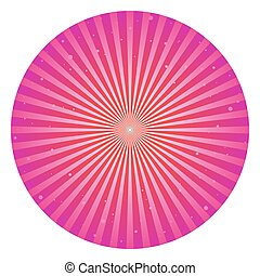 Sunlight rays shine cirlce. pink and purple color burst background. Vector sky illustration. Sun beam ray sunburst wallpaper. Retro bright backdrop. Vintage poster or placard