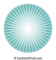 Sunlight rays shine cirlce. powder blue color burst background. Vector sky illustration. Sun beam ray sunburst wallpaper. Retro bright backdrop. Vintage poster or placard