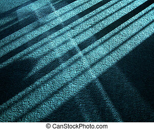 Sunlight, reflected sunlight and shadow crossing on carpet