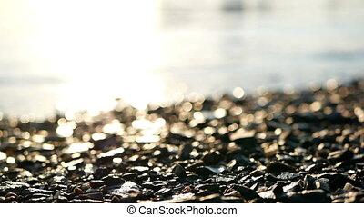 Sunlight river rocks stone - Sunlight reflection in river...