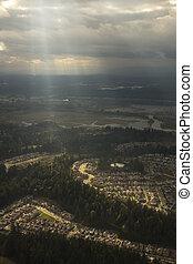 Sunlight Shining on Suburban Neighborhood