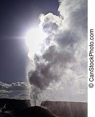 Sunlight through the steam from Lion Geyser - Lion Geyser ...