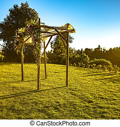 Sunlit Chuppah on a traditional wedding sunset