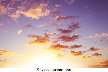 Sunlit clouds in sky