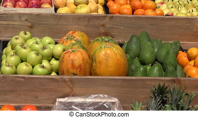 Sunlit fruits in the market stall - Sunlit fruits in the...