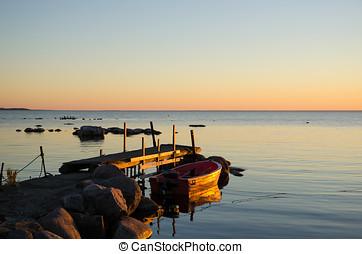Sunlit old jetty