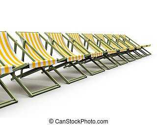 sunlounger - 3d rendered illustration of deck chairs...