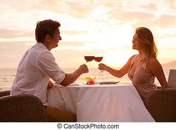 sunnset, abendessen, genießen, paar, romantische