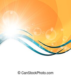 Sunny abstract sun ray background yellow orange