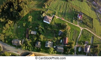 Sunny aerial landscape.