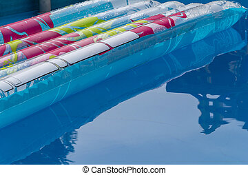 sunny airbed and pool scenery - sunny pool scenery with air...