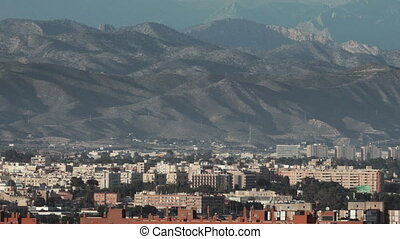 Sunny Alicante against mountain slopes - Panorama of sunny...