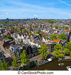 Sunny Amsterdam - Aerial view of Amsterdam city in a ...