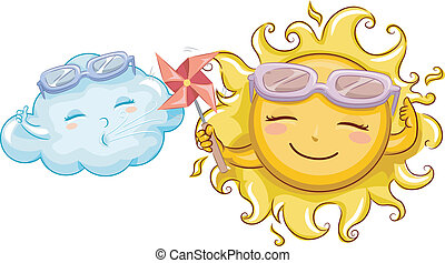 Sunny and Windy - Illustration of a Sun Mascot Holding a...