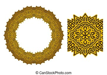 Sunny art with abstract circle golden pattern