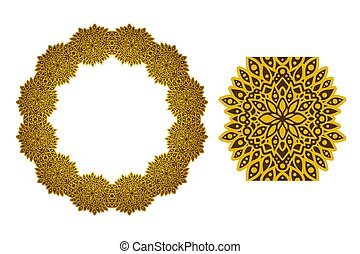 Sunny art with golden abstract circle pattern