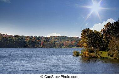 Sunny Autumn Landscape - Scenic autumn landscape on a bright...