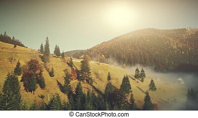 Sunny autumn mountainous landscape aerial view - Sunny...