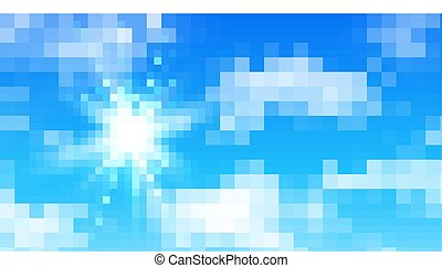 Sunny background, blue sky with clouds and sun