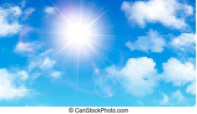 Sunny background, blue sky with white clouds and sun, vector...