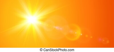 Sunny background, orange sun with lens flare, vector summer illustration